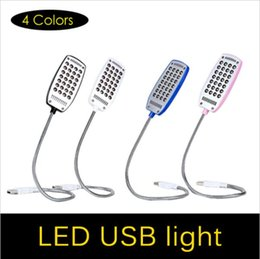 Wholesale computer reading light - 1Pcs Ultra Bright Flexible LED USB light reading lamp 28LEDs 4 Colors for Laptop Notebook PC Computer CE RoHS certificate