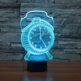 Wholesale Clock Factory - 2016 Clock new hot 3D Night Lamp Optical Night Light 9 LEDs Night Light DC 5V Factory Wholesale