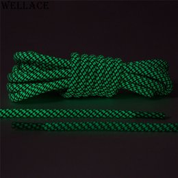 Wholesale Black Boot Shoelaces - Wellace Glowing Running Shoe Laces Round Luminous White Black Glow in the Dark Shoelaces for Boots Trainer Sport Shoes 120cm 47''