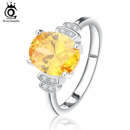 rings for bride Australia - ORSA New Fashion Women Engagement Ring with Yellow Zircon Wedding Bride Ring Jewelry for Women OR58