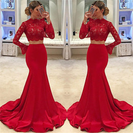 Wholesale Custom Crops - Red Two Piece Prom Dresses 2018 African Cheap Long Sleeve High Neck Mermaid Lace Cheap Formal Evening Gowns Arabic Dubai Crop Top Vestidos