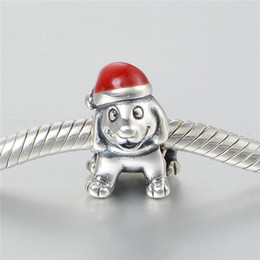 Wholesale Pandora Dog - Christmas dog charm charms beads authentic pack S925 sterling silver fits for pandora style charm bracelets free shipping aleCH645H9