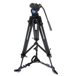 Wholesale Pro Fluid Camera - Pro Video Fluid Drag Tripod Benro KH25N + 3 Wheels Support Skater Dolly For Canon Sony Panasonic Camera Camcorder Free DHL