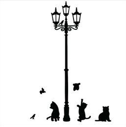 Appliques murales en Ligne-Populaire Antique Lampe Chats et Oiseaux Wall Sticker Mur Mural Décor À La Maison Chambre Enfants Stickers Fond d'écran TT164