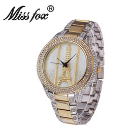 Wholesale Glass Eiffel Towers - Diamond Luxury Brand Bracelet Wristwatch Ladies Crystal Quartz Clocks High Quality Luxury Women Watches Crystal The Eiffel Tower Watch Ladie