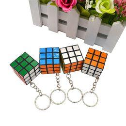 Wholesale Ring Games - 3x3x3cm Mini Magic Cube Puzzle Keychain Magic Game magic Square key ring learning education game cube good Gift toys key rings