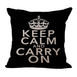 Wholesale Simple Linen Cushion Cover - Simple Keep Calm and Carry On Pillow Case Throw Cushion cover linen cotton Square Pillowcase Cover Home sofa Decor Christmas gift 240444