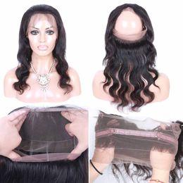 Wholesale Human Hair Bangs Sale - Hot Sale Brazilian Virgin Hair 360 Lace Bang Body Straight Peruvian Indian Hair Natural Black 1B Human Hair Closure