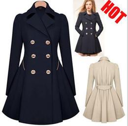 Wholesale Women Beige Coat Cashmere - Women Slim Double Breasted Trench Coat Long Overcoat Jacket Windbreaker Slim Coat Outwear Peacoat 3 Colors LJJO3232