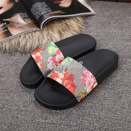 Wholesale light brown heels - new arrival 35 colors mens and womens fashion causal slippers mens flower animal print slide sandals summer outdoor beach flip flops
