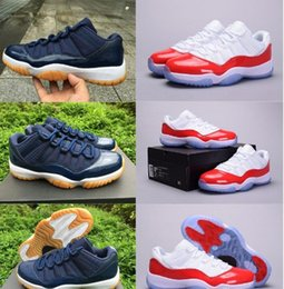 Wholesale Men Shoes Low Cut Boots - high quality air retro 11 man Basketball Shoes low Navy Gum Blue White Varsity Red Men's Sneakers sports shoes Athletics Boots