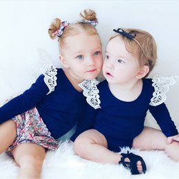 Wholesale Toddler Girls Lace Shirts - Toddler Girl Cotton t shirt sweet Girls spring autumn Long Sleeve Tops with Lace shoulder Girl Casual Blouse 6colors*6size