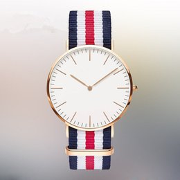 Wholesale Wholesale Luxury Glass Gifts - Rose Gold Dial Nylon Sport Watches Fashion Men Women Casual Quartz Wristwatch 2016 Luxury Unique Couple Gift Clock Water proof
