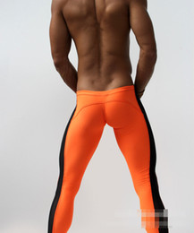 Wholesale Criss Cross Tights - Wholesale-AQUX Sexy Men's Workout Tights Elastic Gym Sports Running Pants Low waist Length pants Sweatpants Jogging Rider Home Gay Wear