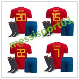 Wholesale Black Football Uniforms - world cup Spain adult Jersey full set with socks 2018 ISCO INIESTA ASENSIO MORATA home soccer shirt Football uniforms sales Spain kits