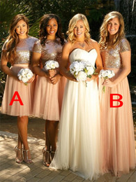 Wholesale Winter Dress Fabrics - 2017 New Fashion Cheap Two Pieces Bridesmaid Dresses Short Long Sequins Fabric Bling Bling Short Sleeves Formal Country Bridesmaid Dresses