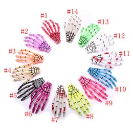 Wholesale Hairpin Bobby - 100pcs(not pair) Hallowmas Gift Skeleton Claws Skull Hand Hair Clips Hairpin Zombie Punk Horror Hairwear Hairpin Bobby Pin