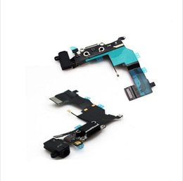 Wholesale Headphone Tracks - Black Color For iPhone 5S Dock Charging Port Headphone Jack Mic Connector Flex Cable Repair, free shipping+track No.