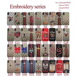 Wholesale embroidery cases iphone - For iPhoneX 7 6S Luxury brand embroidery tiger snake bee animal phone case shell for iPhone7plus hard black cover for iPhone8 8plus