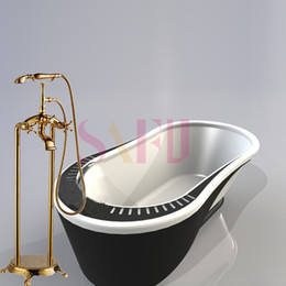 Wholesale Stand Shower Faucets - Free shipping Brass Luxury Gold Plate Bathtub Faucet Floor Standing Shower Tub Faucet floor taps with hot and cold control faucet