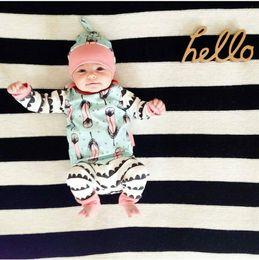 Wholesale Winter Set Design - Ins Hot Children Clothes Suits 2016 Infant Baby Autumn Design Feather Print Long Sleeve T-shirt Pants Hats Three Piece Sets Christmas Clothe