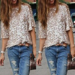 Wholesale Xl Gold Sequin Top - Women Shirts Blouses 2016 spring summer new Bling Sequin Top Half Sle eve Sexy Tops Casual Women gold Blouse plus size S-3XL wholesales
