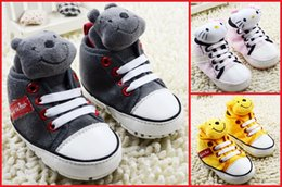 Wholesale Teddy Fabric Wholesale - 2016 new baby cartoon casual shoes lace children toddler shoes teddy bear 0-18 months spring & autumn shoes boy 12pair 24pcs B3