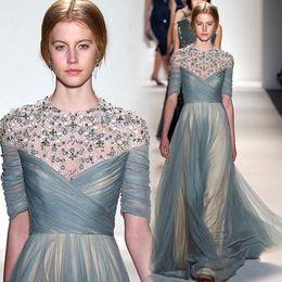Wholesale Zuhair Murad Modest Gowns - Zuhair Murad 2015 Beaded Pearls Half Sleeve Dresses Evening Wear Modest Tulle Pleats Champagne Lining Long Formal Gown Custom EN7217