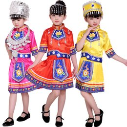 Wholesale Chinese Folk Dance Costumes - Kids Chinese Folk Dance Costume Hmong Chinese National Traditions Outfits Girls Miao Performance Dance Costumes Stage wear with Hat