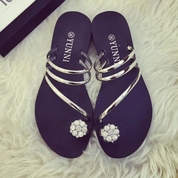 Wholesale Heel Thong Sandals - Summer new flower flat rubber thong sandals and slippers sandals girls sandals student shoes WOMEN SHOES