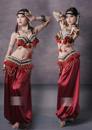 Wholesale Tribal Dance Set Costume - Tribal Vintage Belly Dance Costume Outfit Set Bra Belt Carnival 2 PCS
