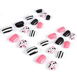 Wholesale Designer Fake Nails - 24 PCS Fashion Cute Designer Acrylic Art Fake Nails 3D Multi Candy Color Full False Tips Beauty Artificial Decoretions 1656853