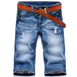 0d1dd7fd4475 Wholesale-Summer Men`s Denim Shorts Vintage Washed Faded Pleated Ripped Roll  Up Jeans Shorts