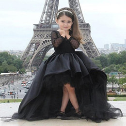 Wholesale Dress Green Girl Princess - Black Pageant Dresses For Little Girls Long Sleeve Hi Low Flower Girl Dresses Kids Prom Birthday Dresses