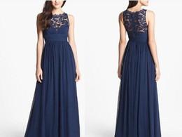 Wholesale Lace Empire Waist Dresses - 2017 Navy Blue Bridesmaid Dresses Chiffon Long Floor Length Empire Waist Maid of Honor Jewel Neck Sheer Zipper Lace Back Honor Bridal Gowns