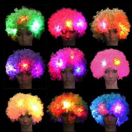 Wholesale Led Hair Costume - LED Light Clown Wig Explosion Head Light Up Flashing Hair Wig Circus Fancy Cosplay Costumes Party Dress Accessories OOA2627