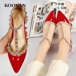 Wholesale Low Heel Designer Pumps - Rivets Women Pump Fashion Designer V 3.5 Cm Mental Color Low Heel Straps Chunky Heel Wedding Shoes Sexy Sandals Pointed Shoes R16