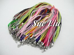 """Wholesale Waxed Cord Ribbon Necklace - 200pcs Assorted Organza Voile Ribbon Waxed Necklace Cords With Lobster Clasp -18"""""""