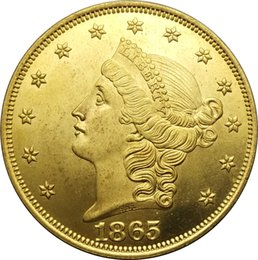 Wholesale United Boxes - United Stated Liberty Head Gold coins 1865 Value Twenty Dollars Brass Copy Coin