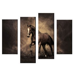 framed horse prints Coupons - Amosi Art-4 Pieces Art Canvas Paintings Brown Horse Painting Print On Canvas The Picture For Living Room and Room Decoration (Wooden Framed)