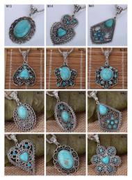 Wholesale Tibetan Style Beads Pendants - Fashion women's DIY European Beads pendant necklace DFMTQN2,hollow Tibetan silver turquoise necklace(with chain) 12 pieces a lot mixed style