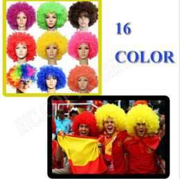 Wholesale Disco Dresses - Unisex Clown Fans Carnival Wig Disco Circus Funny Fancy Dress Party Stag Do Fun Joker Adult Child Costume Afro Curly Hair Wig event gift