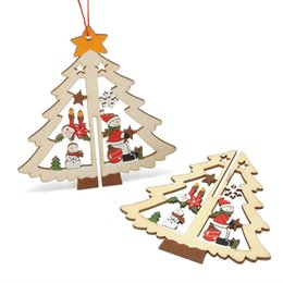 Wholesale Hanging Star Lights Christmas - Carved Wooden Ornament For Christmas Tree Window Pentagram Bell Hanging Pendant Easy To Use Decoration Durable 2 1zy B R