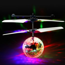 Wholesale Free Rc Helicopters - New Flying LED toys RC Colorful Crystal Ball Aircraft Induction Helicopter Quadcopter Kids Light Up balls Toys Chrismas Gifts free shipping