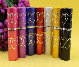 Wholesale Beautiful Empty Spray Bottle - Free Shipping Beautiful 5ML Mini Portable Makeup Aftershave Refillable Perfume Empty Bottle Spray Atomizer With star,100pcs lot