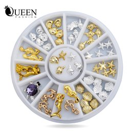 stud manicure Coupons - Wholesale- New! Shell Starfish Sea Design Gold Silver Alloy 3d Nail Art Rhinestone Decoration Wheel Charm Studs Spike Jewelry Manicure Tool