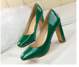 Wholesale Cheapest Slip Shoes - Cheapest Fashion Patent Leather Coach Shallow Mouth High-Heeled Shoes Green
