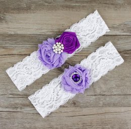 Wholesale Purple Wedding Garters - 2016 Sexy Bridal Garters White purple Ribbon Rhinestones Lace 44*38cm Garters for Wedding Bride 5