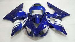 Injectiion Mold for YAMAHA YZFR1 1998 1999 kit fai da te YZF R1 YZR1000 R1 98 99 bianco blu Fairings set KJ14 da 1999 yamaha yzf r1 rivestimenti bianchi fornitori