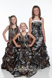 Wholesale Image Christmas Tree - Spaghetti Camo Full Real Tree Flower Girls Dresses Sweep Train Draped Skirt Satin Camouflage Outside Kids Formal Wear Party Gowns 2016 New